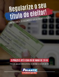 Eleições 2018: Vai até 9 de maio o prazo para regularizar o título de eleitor
